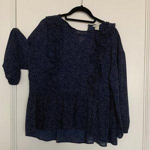 H&M Dark Blue Polka Dot Blouse